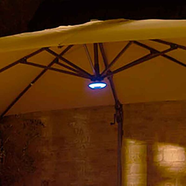 Bramblecrest Sidepost Parasol LED light with Bluetooth Speaker showing light on