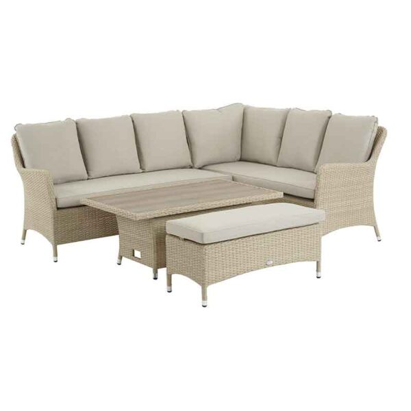 Bramblecrest Tetbury Modular Sofa, Casual Dining Table & Bench Set in Nutmeg (adjustable to coffee height)