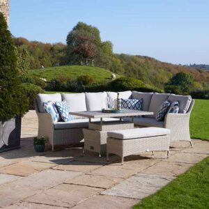 Bramblecrest Tetbury Modular Sofa, Casual Dining Table & Bench Set in Nutmeg in garden