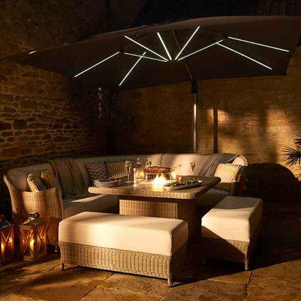 Bramblecrest Truro Grey 3m x 3m Square Side Post Parasol + Solar LED lighting + Protective Cover