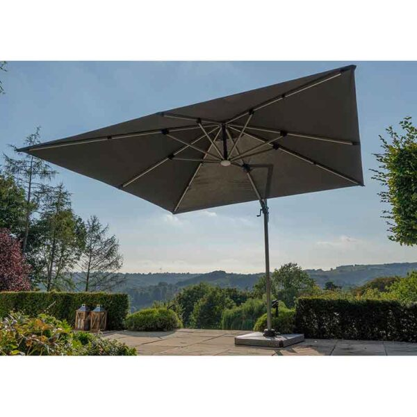 Bramblecrest Truro Grey 3m x 3m Square Side Post Parasol + Solar LED lighting + Protective Cover (in situ)
