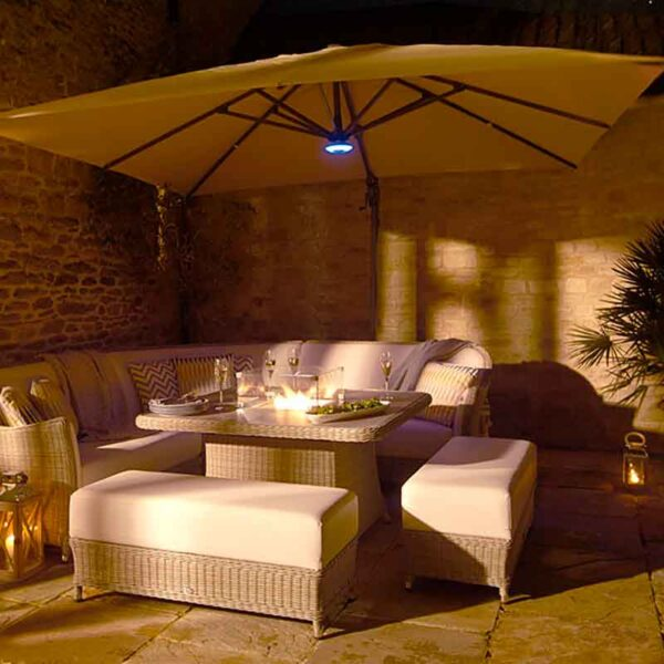 Bramblecrest Truro Sand 3m x 3m Square Side Post Parasol & Base + Solar LED lighting + Protective Cover
