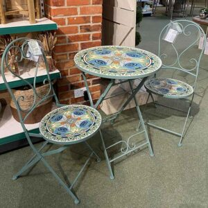 Cancun Iron Bistro Set with Mosaic