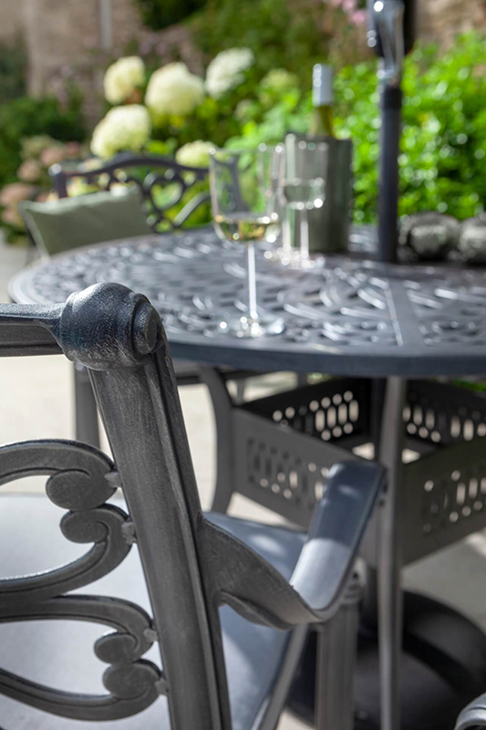 Capri 4 Seat Round Dining Set Antique Grey And Platinum Chair Detail