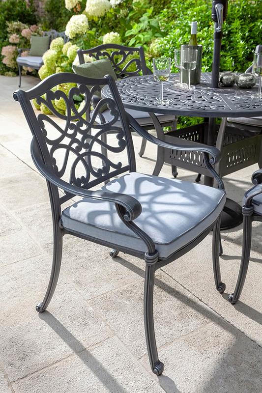 Capri 4 Seat Round Dining Set Antique Grey And Platinum Cushion Detail