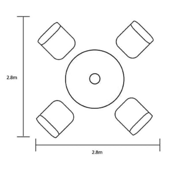 Hartman Capri 4 Seat Round Dining Set dimensions
