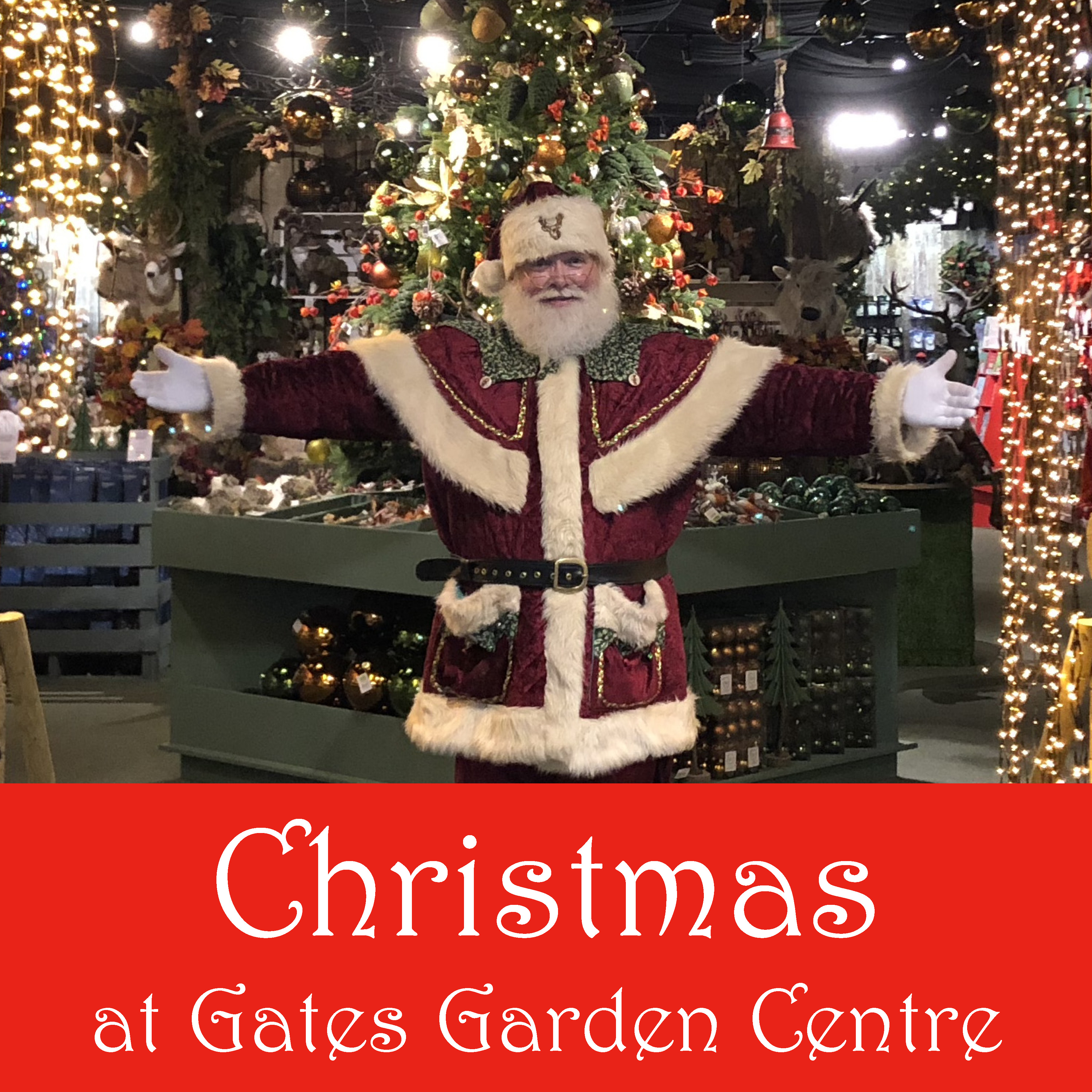 Christmas at Gates Button 300x300mm