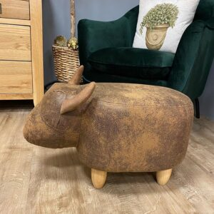 Cocoa Cow Faux Leather Footstool 2