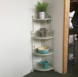 Cream Metal Folding Corner Shelf Unit