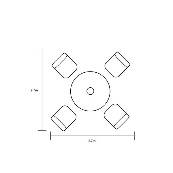 Hartman Curve 4 Seat Dining Set with Round Table Footprint