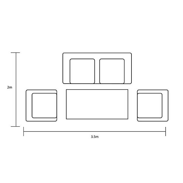 Hartman Curve Reclining Lounge Set in Cool Grey Footprint