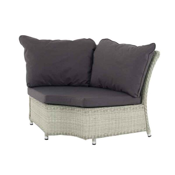 Curved Modular Corner in Dove Grey with season-proof Eco Charcoal cushions