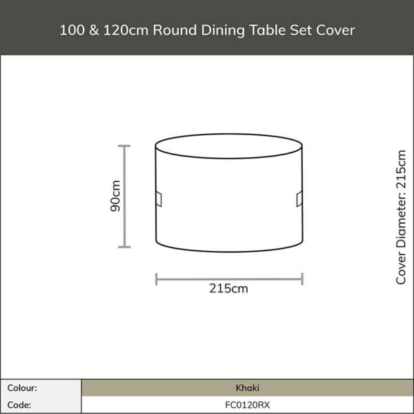 Dimensions for Bramblecrest 100 & 120cm Round Dining Table Set Cover in Khaki