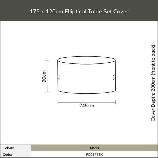 Dimensions for Bramblecrest 175 x 120cm Elliptical Table Set Cover in Khaki