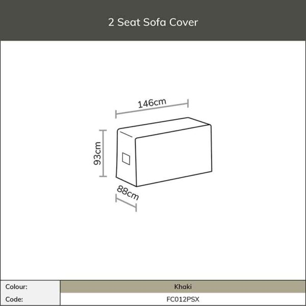 Dimensions for Bramblecrest 2 Seat Sofa Cover in Khaki