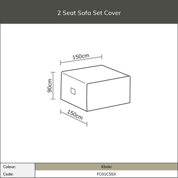 Dimensions for Bramblecrest 2 Seat Sofa Set Cover in Khaki