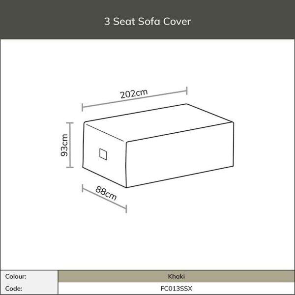 Dimensions for Bramblecrest 3 Seat Sofa Cover in Khaki