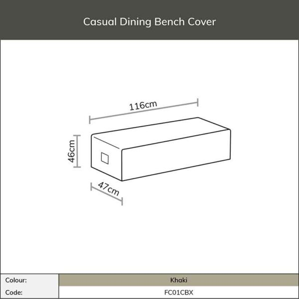 Dimensions for Bramblecrest Casual Dining Bench Cover in Khaki