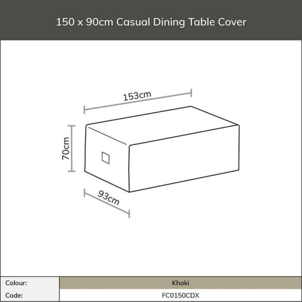 Dimensions for Bramblecrest Casual Dining Table Cover in Khaki