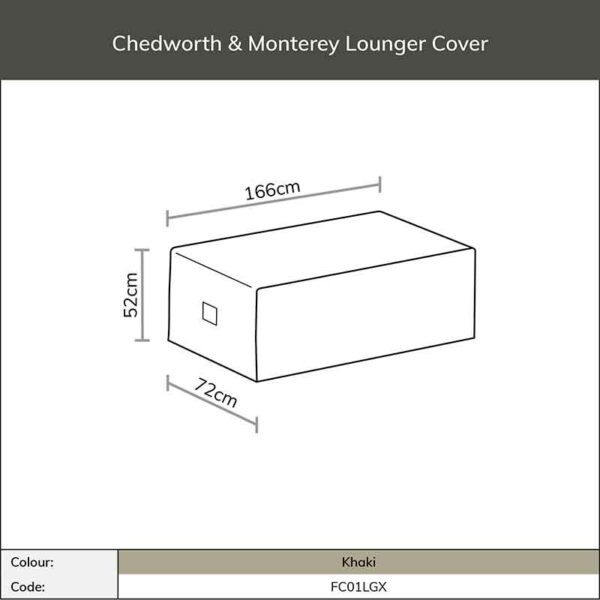 Dimensions for Bramblecrest Chedworth or Monterey Lounger Cover in Khaki
