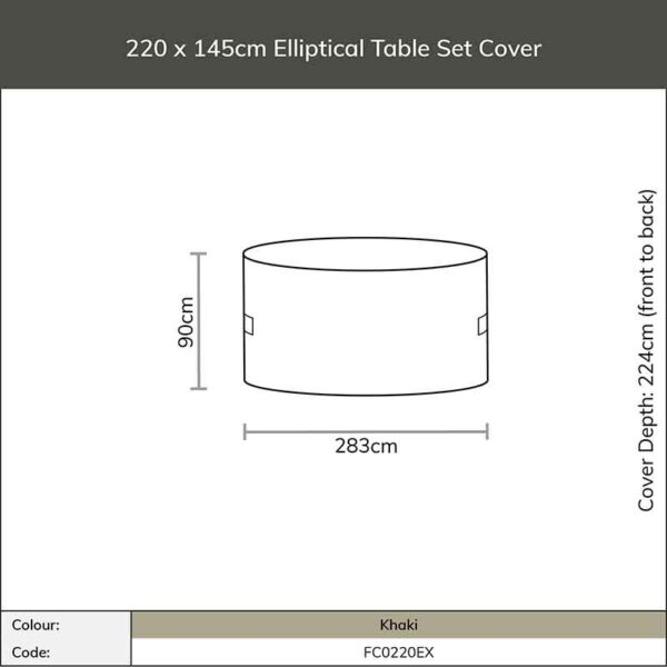 Dimensions for Bramblecrest Cover 220 x 145cm Elliptical Table Set Cover in Khaki