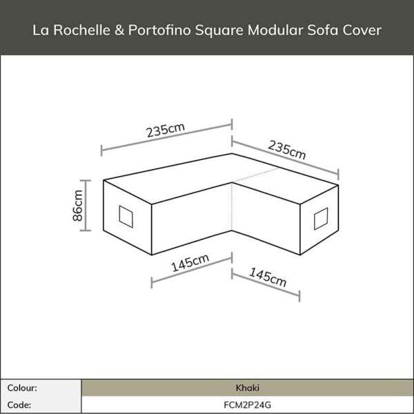 Dimensions for Bramblecrest Cover for La Rochelle/Portofino Square Modular Sofa in Khaki
