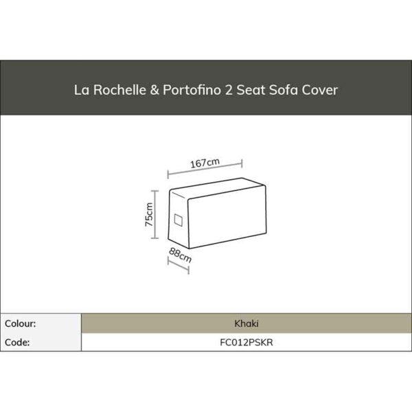 Dimensions for Bramblecrest Cover for La Rochelle or Portofino 2 Seat Sofa (Khaki)