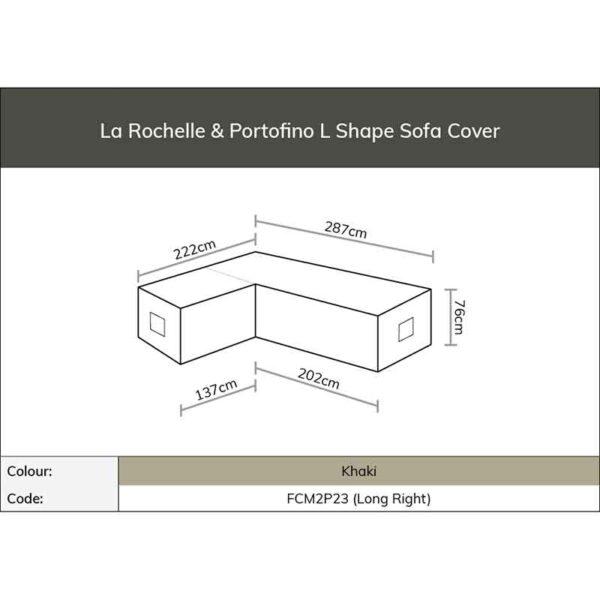 Dimensions for Bramblecrest Cover for La Rochelle or Portofino L Shape Sofa - Long Right (Khaki)