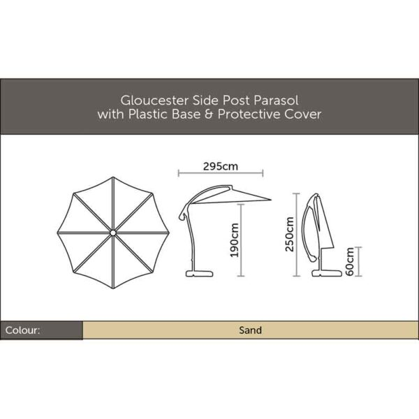 Dimensions for Bramblecrest Gloucester 3m Round Side Post Parasol & Protective Cover in Sand