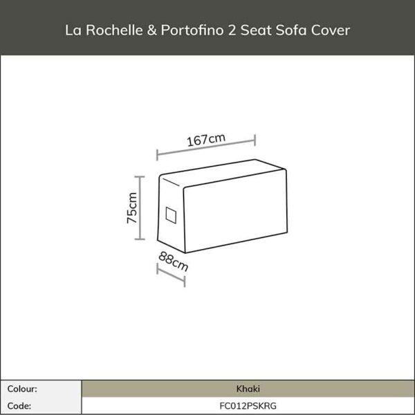 Bramblecrest La Rochelle or Portofino 2 Seat Sofa Cover in Khaki