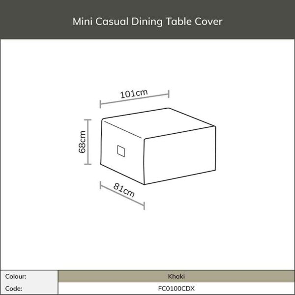 Dimensions for Bramblecrest Mini Casual Dining Table Cover in Khaki