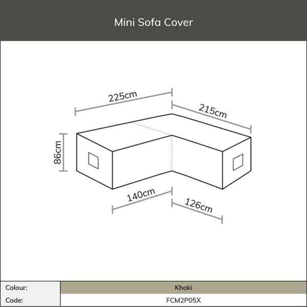 Dimensions for Bramblecrest Mini Sofa Cover in Khaki