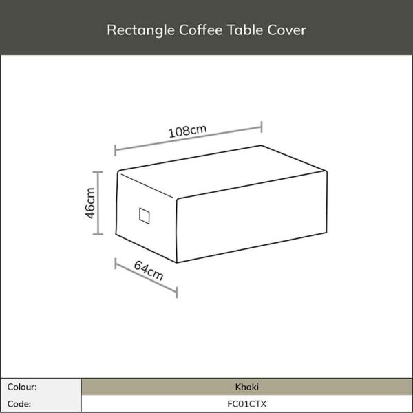 Dimensions for Bramblecrest Rectangular Coffee Table Cover in Khaki