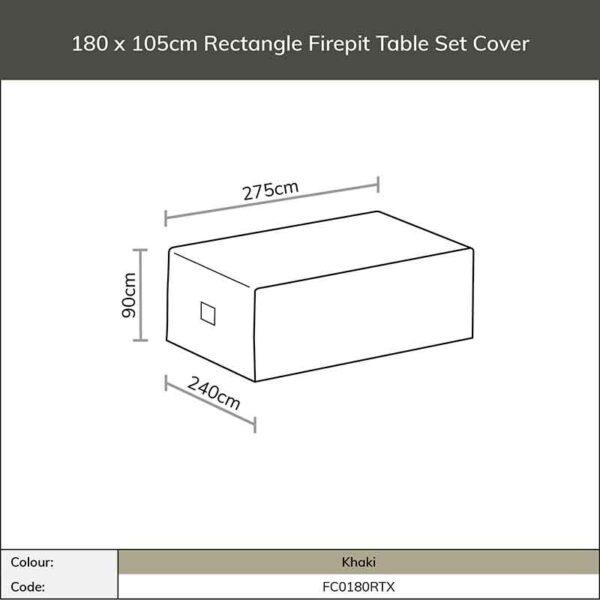 Dimensions for Bramblecrest Rectangular Firepit Table Set Cover in Khaki