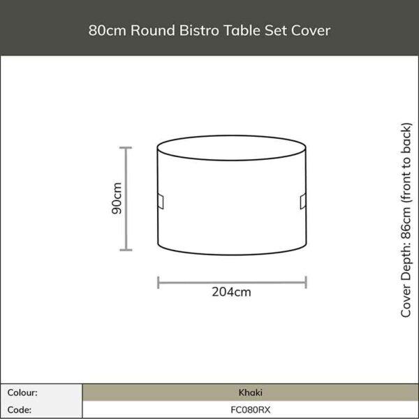 Dimensions for Bramblecrest Round Bistro Set Cover in Khaki
