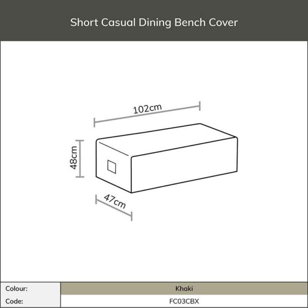 Dimensions for Bramblecrest Short Casual Dining Bench Cover in Khaki