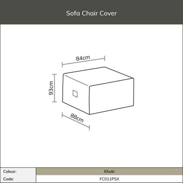 Dimensions for Bramblecrest Sofa Chair Cover in Khaki