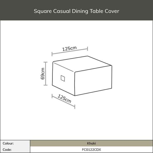 Dimensions for Bramblecrest Square Casual Dining Table Cover in Khaki