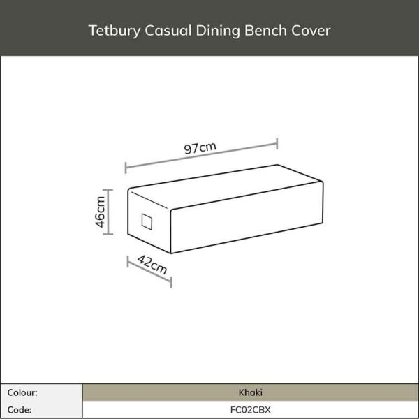 Dimensions for Bramblecrest Tetbury Casual Dining Bench Cover in Khaki