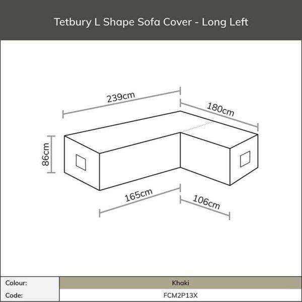 Dimensions for Bramblecrest Tetbury L Shape Long Left Sofa Cover in Khaki