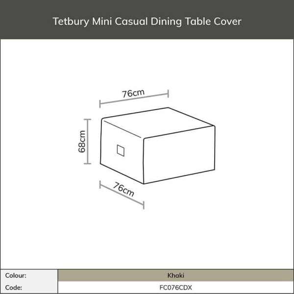 Dimensions for Bramblecrest Tetbury Mini Casual Dining Table Cover in Khaki