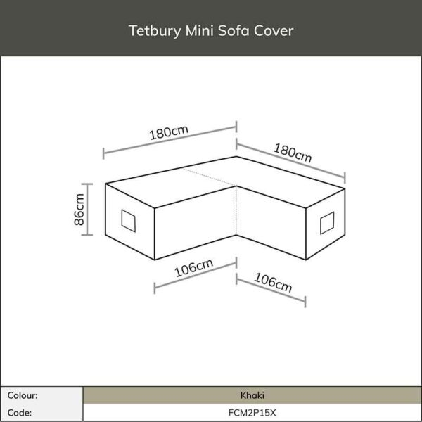 Dimensions for Bramblecrest Tetbury Mini Sofa Cover in Khaki