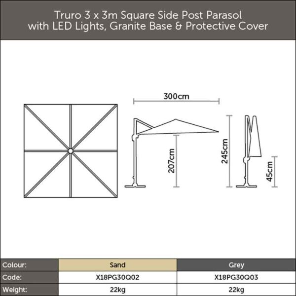 Dimensions for Bramblecrest Truro Sand 3m x 3m Square Side Post Parasol & Base + Solar LED lighting + Protective Cover