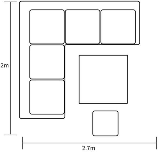 Dimensions for Dubai Square Corner Casual Dining Set