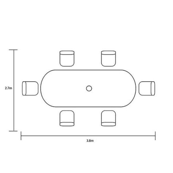 Dimensions for Hartman Capri 6 Seat Oval Set