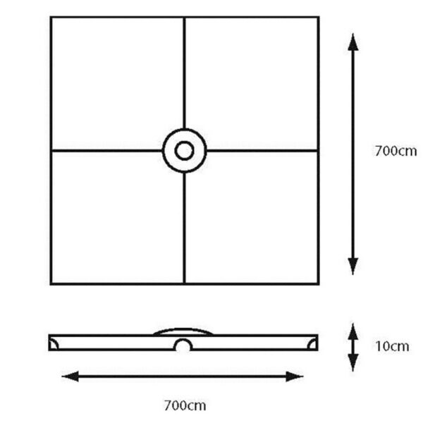 Dimensions for Leisuregrow Fillable Cantilever Parasol Base