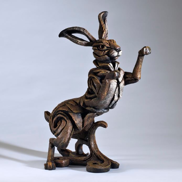 Edge Sculpture Boxing Hare - Brown Side 2