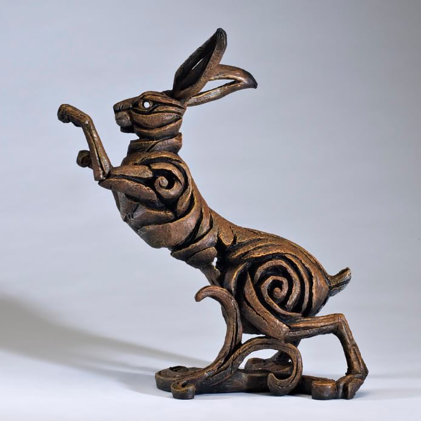 Edge Sculpture Boxing Hare - Brown Side