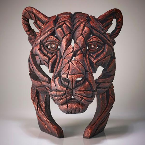 Edge Sculpture Panther Bust - Jungle Flame - Bronze