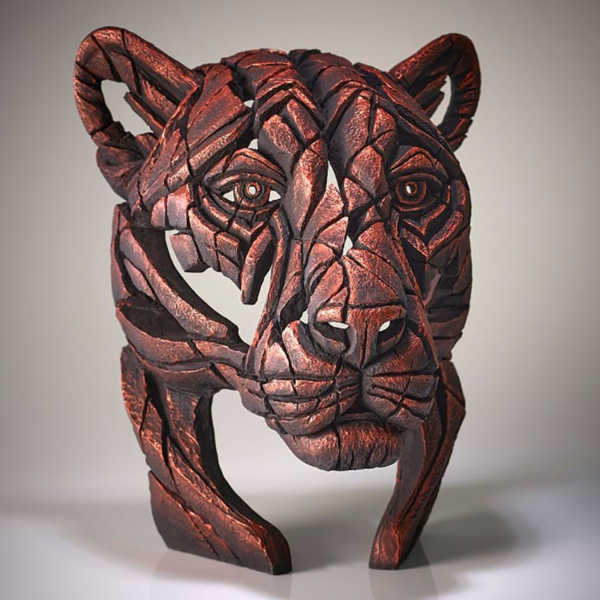 Edge Sculpture Panther Bust - Jungle Flame - Bronze Side 2